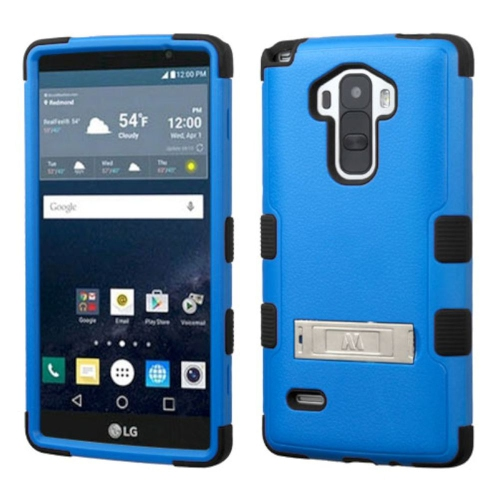 Insten Hard Hybrid Rubberized Silicone Case w/stand For LG G Stylo LS770 - Blue/Black