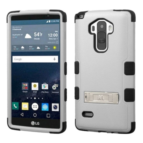 Insten Hard Hybrid Rubber Coated Silicone Case w/stand For LG G Stylo LS770 - Gray/Black