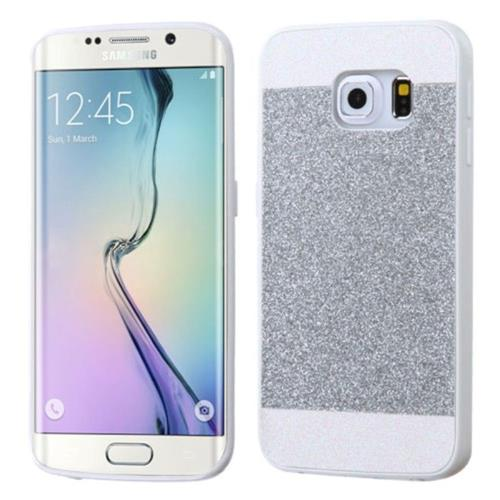 Insten Hard Glitter Cover Case For Samsung Galaxy S6 Edge - Silver/White