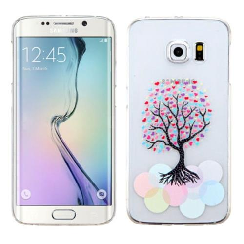 Insten Love Tree Hard Rubber Cover Case For Samsung Galaxy S6 Edge - Clear/Colorful