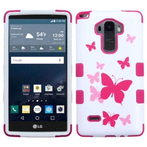 Insten Tuff Butterfly Dancing Hard Hybrid Rubber Silicone Case For LG G Stylo LS770 - Hot Pink/White