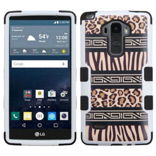 Insten Tuff Zebra Hard Dual Layer Rubber Coated Silicone Case For LG G Stylo LS770 - Black/Brown