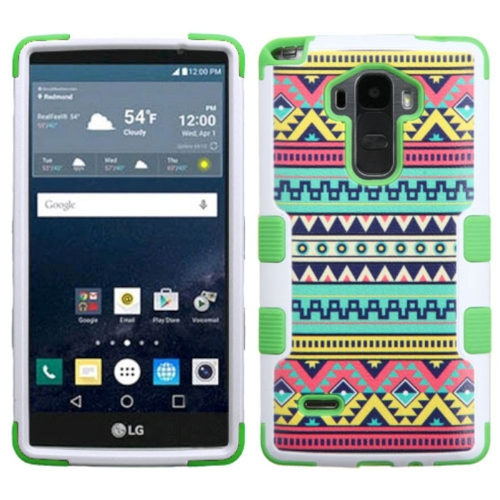 Insten Tribal Sun Hard Dual Layer Rubberized Silicone Cover Case For LG G Stylo LS770, Green/White
