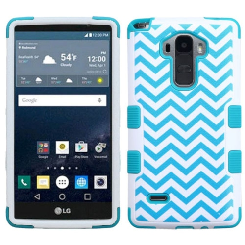 Insten Tuff Wave Hard Hybrid Rubber Silicone Cover Case For LG G Stylo LS770 - Blue/White