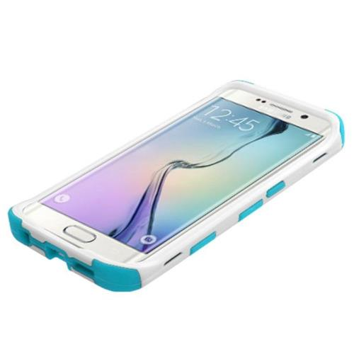 Insten Tuff Wave Hard Dual Layer Rubber Coated Silicone Case For Samsung Galaxy S6 Edge - Blue/White