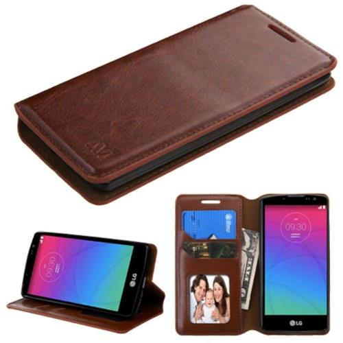 Insten Flip Leather Fabric Case w/stand/card slot/Photo Display For LG Spirit 4G - Brown
