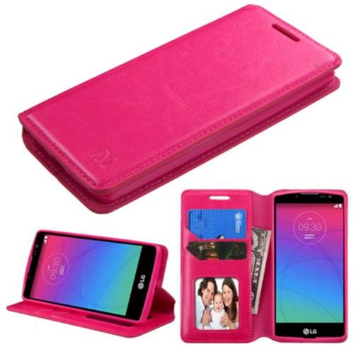 Insten Folio Leather Fabric Cover Case w/stand/card slot/Photo Display For LG Spirit 4G - Hot Pink