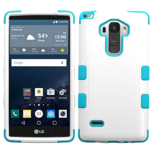 Insten Tuff Hard Hybrid Rubber Silicone Cover Case For LG G Stylo LS770 - White/Blue