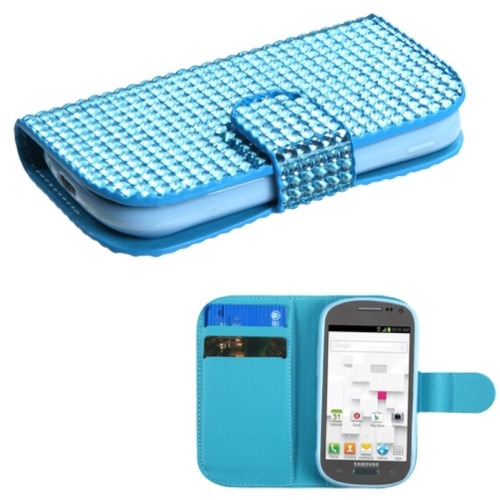 Insten Folio Leather Rhinestone Cover Case w/card slot For Samsung Galaxy Exhibit T599 - Blue