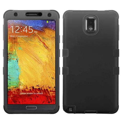 Insten Tuff Hard Dual Layer Rubber Coated Silicone Case For Samsung Galaxy Note 3 - Black