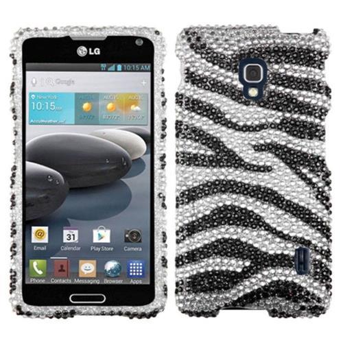 Insten Zebra Hard Diamond Case For LG Optimus F6 MS500 - Black/Silver