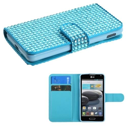 Insten Flip Leather Bling Case w/card slot For LG Optimus F6 MS500 - Blue