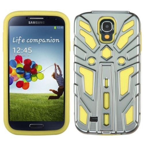 Insten Zenobots Hybrid Metallic Case w/stand For Samsung Galaxy S4/S4 (LTE version), Silver/Yellow
