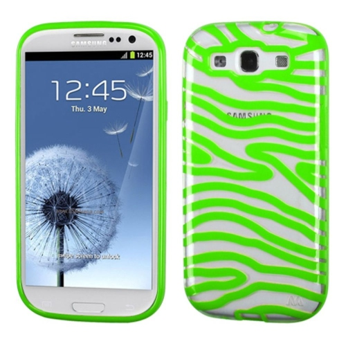 Insten Zebra Gel Cover Case For Samsung Galaxy S3 - Green/Clear