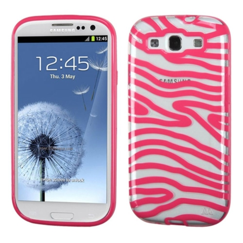 Insten Zebra Gel Case For Samsung Galaxy S3 - Pink/Clear
