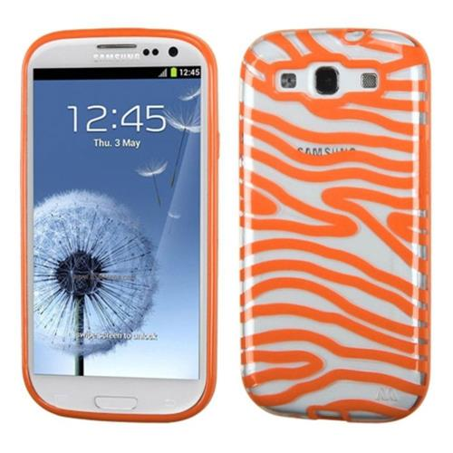 Insten Zebra Rubber Cover Case For Samsung Galaxy S3 - Orange/Clear