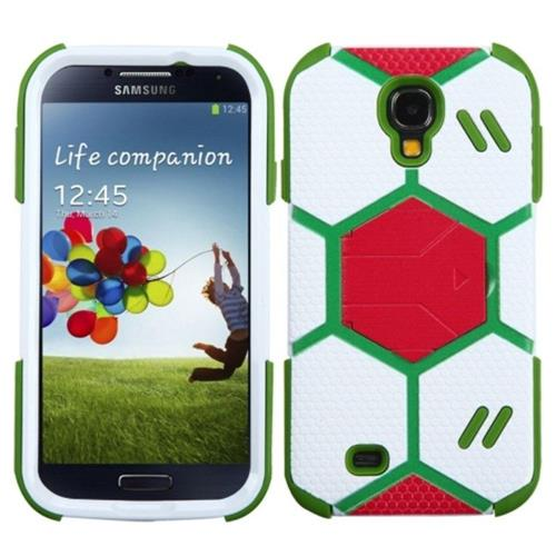 Insten White/Grass Green Goalkeeper Hybrid Case w/Red Stand For SAMSUNG Galaxy S4 I9500