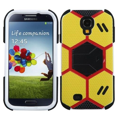 Insten Yellow/Black Goalkeeper Hybrid Case w/Black Stand For SAMSUNG Galaxy S4 I9500