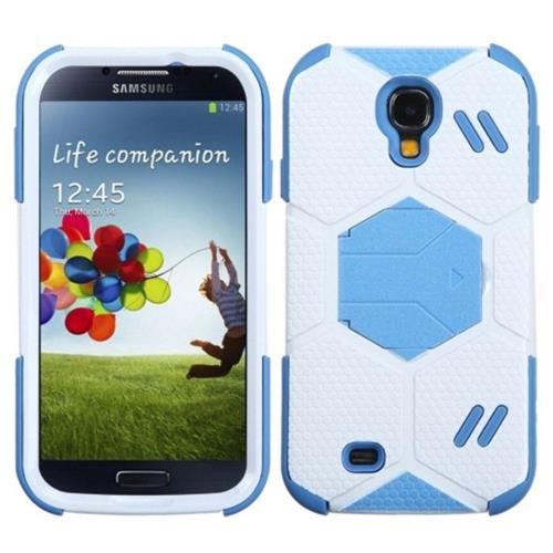 Insten White/Blue Goalkeeper Hybrid Case w/Baby Blue Stand For SAMSUNG Galaxy S4 I9500