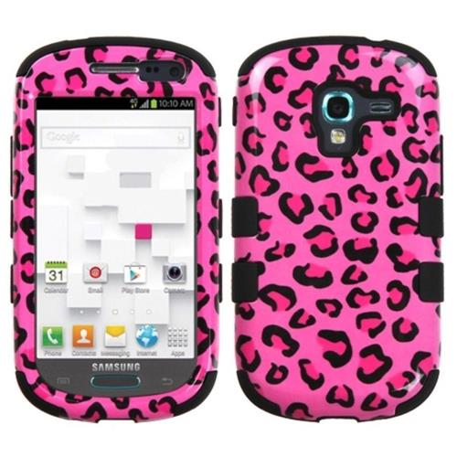 Insten Tuff Leopard Hard Dual Layer Silicone Cover Case For Samsung Galaxy Exhibit T599 - Pink/Black