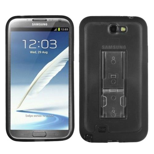 Insten Hard Clear Plastic TPU Cover Case w/stand For Samsung Galaxy Note II - Black/Smoke