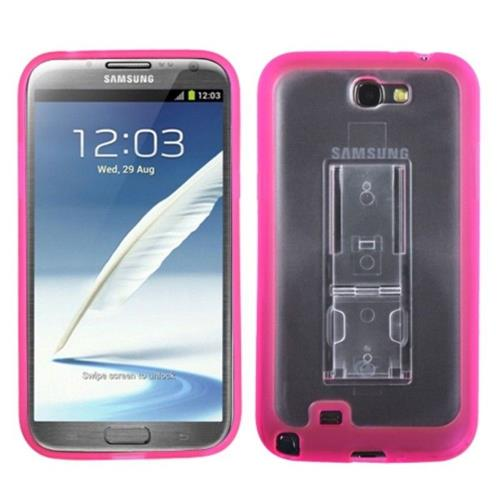 Insten Hard Plastic TPU Case w/stand For Samsung Galaxy Note II - Pink/Clear