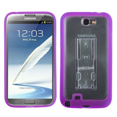 Insten Hard Plastic TPU Cover Case w/stand For Samsung Galaxy Note II - Purple/Clear