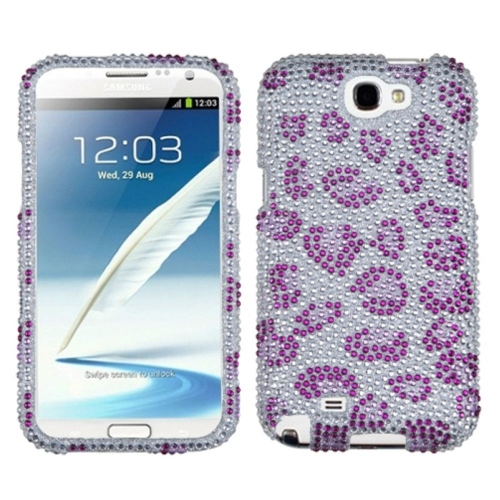 Insten Leopard Hard Rhinestone Cover Case For Samsung Galaxy Note II - Purple/Silver