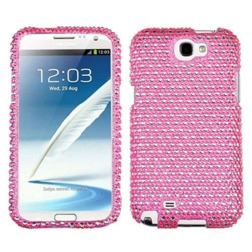 Insten Dots Hard Diamante Cover Case For Samsung Galaxy Note II - Pink/White