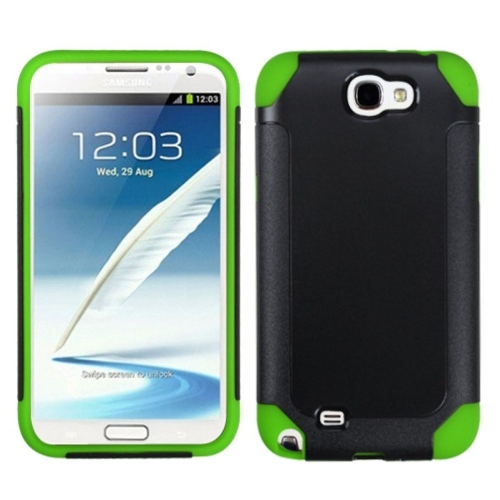 Insten Fusion Hard Plastic Silicone Cover Case For Samsung Galaxy Note II, Black/Neon Green