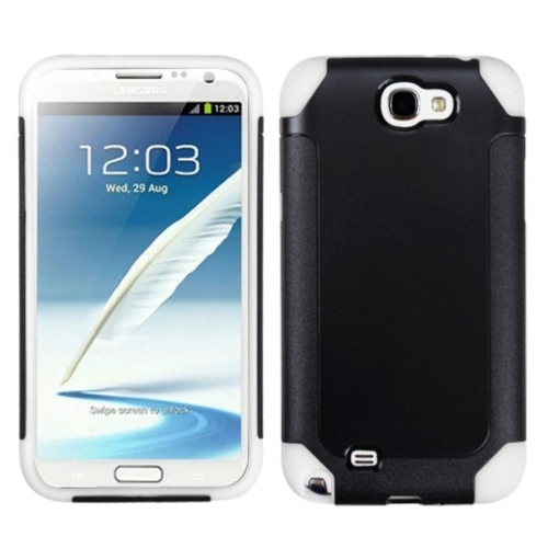 Insten Fusion Hard Dual Layer Plastic Silicone Case For Samsung Galaxy Note II - Black/White