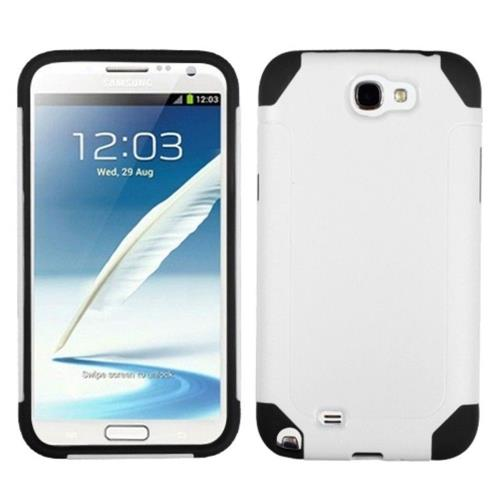 Insten Fusion Hard Hybrid Plastic Silicone Case For Samsung Galaxy Note II - White/Black