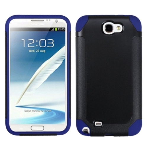 Insten Fusion Hard Dual Layer Plastic Silicone Case For Samsung Galaxy Note II - Black/Dark blue