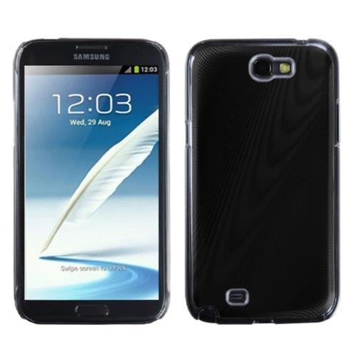 Insten Cosmo Aluminum Metallic Hard Cover Case For Samsung Galaxy Note II - Black/Clear