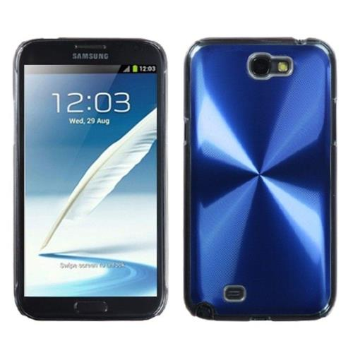 Insten Cosmo Aluminum Metallic Cover Case For Samsung Galaxy Note II - Blue/Clear