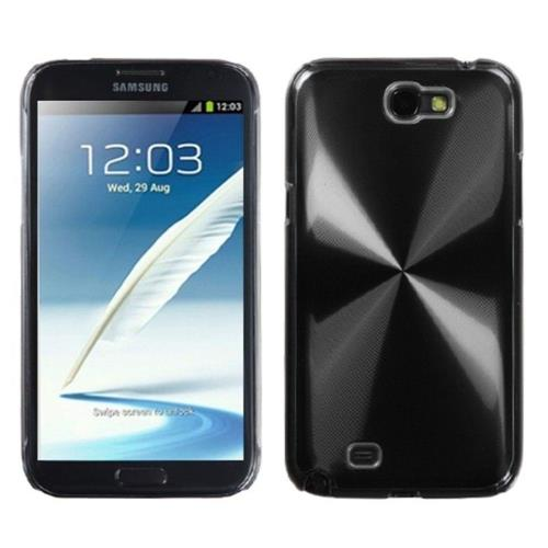 Insten Cosmo Aluminum Metallic Hard Case For Samsung Galaxy Note II - Black/Clear