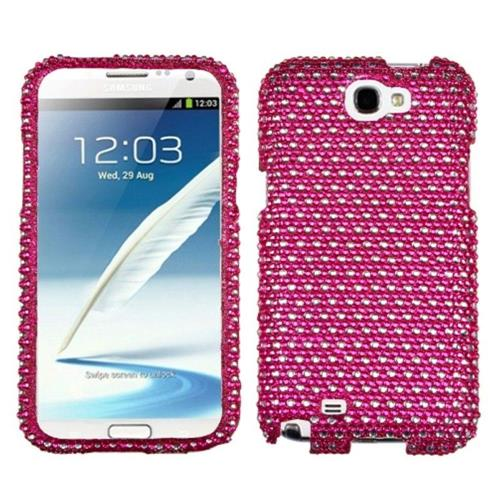 Insten Dots Hard Diamante Cover Case For Samsung Galaxy Note II - Hot Pink/White