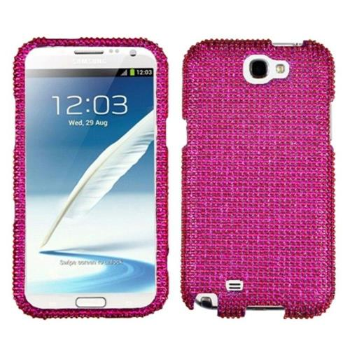 Insten Hard Diamond Cover Case For Samsung Galaxy Note II - Pink