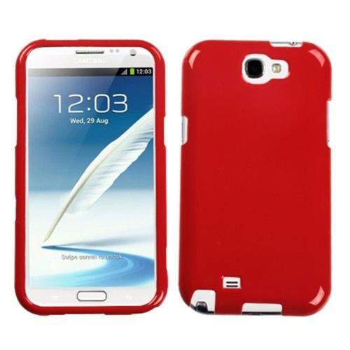 Insten Hard Cover Case For Samsung Galaxy Note II - Red