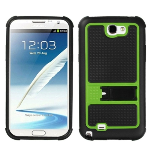 Insten Gummy Hard Plastic Silicone Case w/stand For Samsung Galaxy Note II - Black/Neon Green