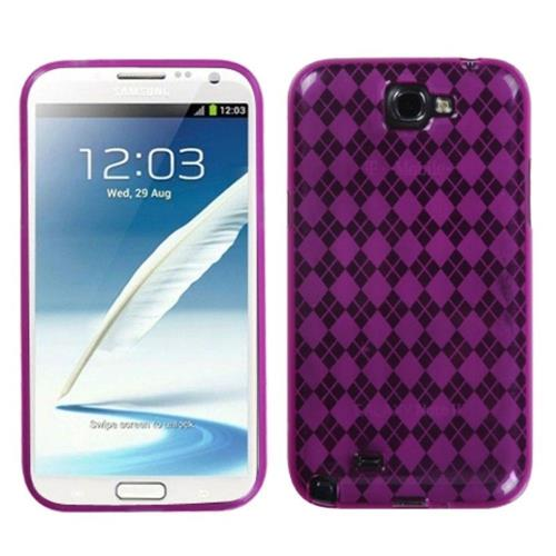 Insten Argyle Rubber Transparent Case For Samsung Galaxy Note II - Pink