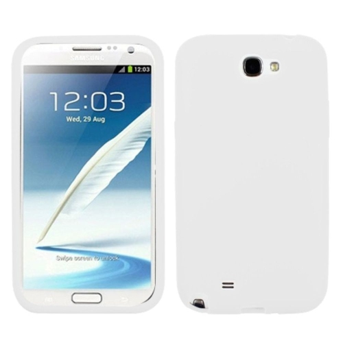 Insten Gel Rubber Cover Case For Samsung Galaxy Note II - White