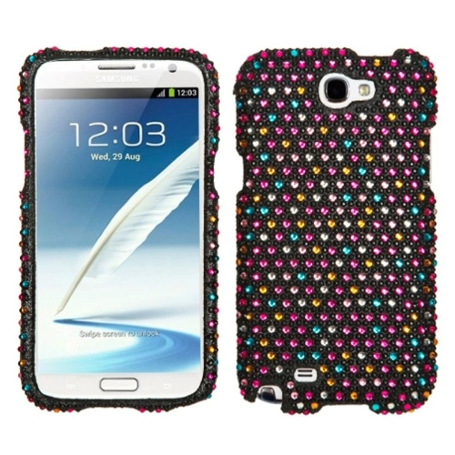 Insten Sprinkle Dots Hard Diamond Case For Samsung Galaxy Note II - Black