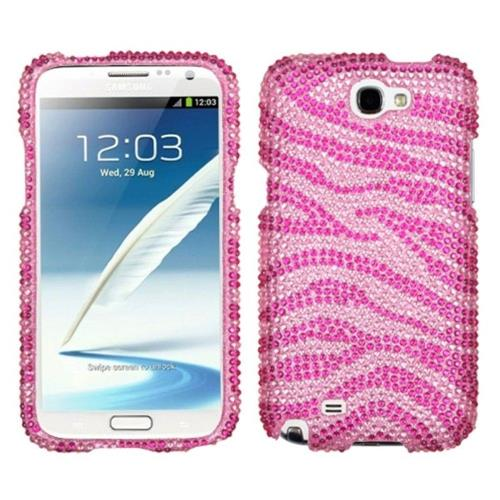 Insten Zebra Hard Bling Cover Case For Samsung Galaxy Note II - Hot Pink/Pink