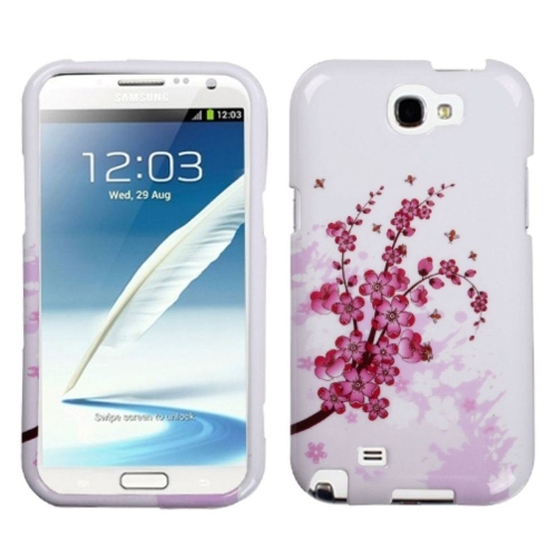 Insten Spring Flowers Hard Case For Samsung Galaxy Note II - White/Pink