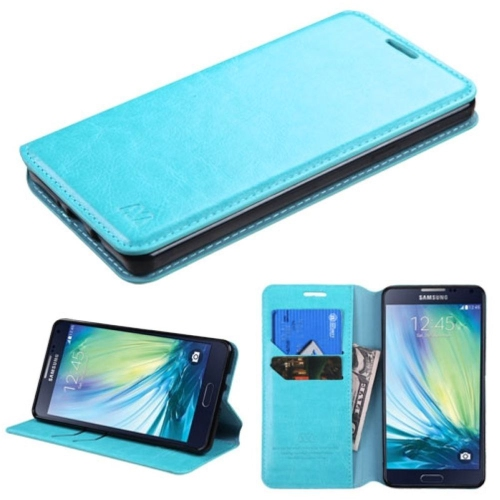 Insten Flip Leather Fabric Cover Case w/stand/card slot For Samsung Galaxy A7 - Blue