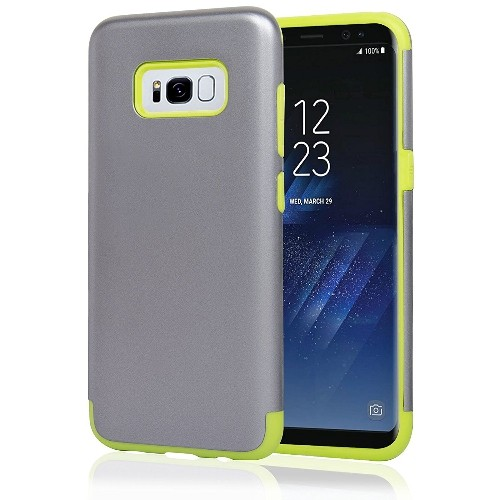 Navor Samsung Galaxy S8 Plus Heavy Duty Shockproof TPU Hybrid Dual Layer Bumper Case- Silver
