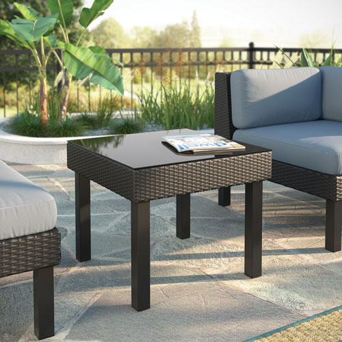 Table d 39 appoint carr e contemporaine oakland tissage noir textur tables de patio best buy - Table d appoint carree ...