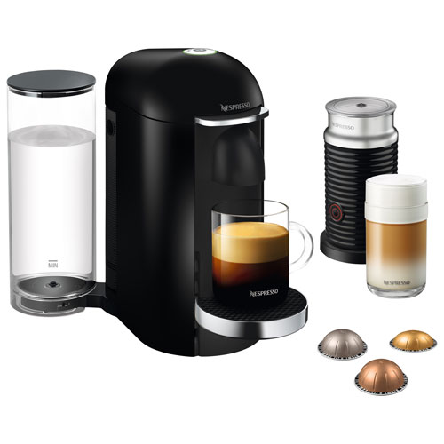 Nespresso VertuoPlus Deluxe Espresso Machine with Aeroccino Milk Frother BNV450BLK1BUC1