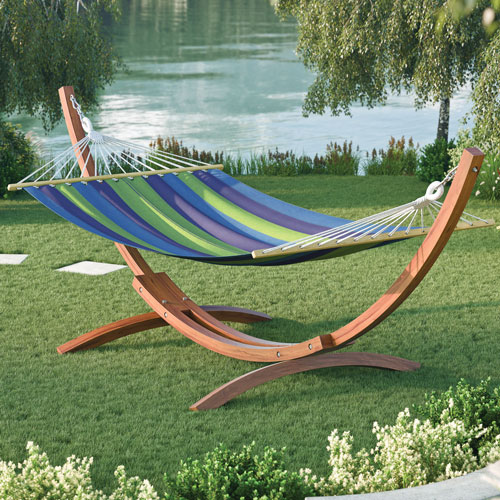 Wood Canyon Hammock With Stand Cinnamon Brown Blue Green